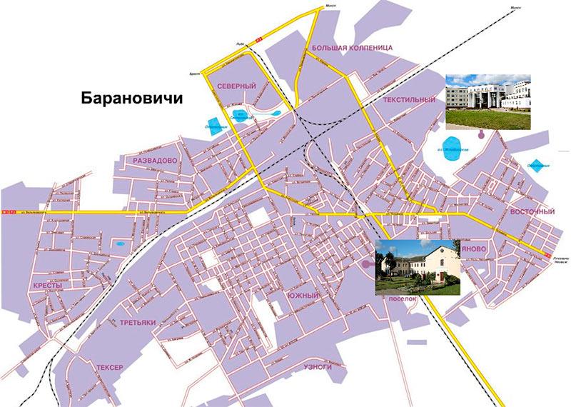 Расположение корпусов университета